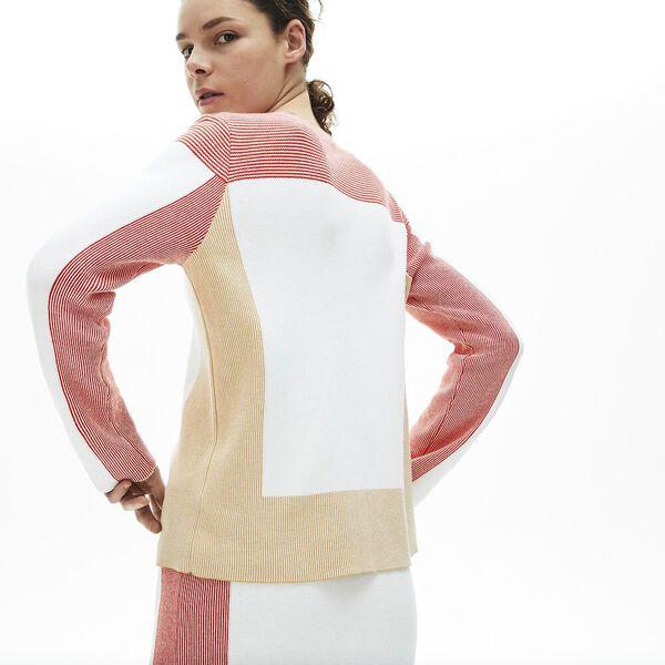 Women's Colourblock Knit Crew Neck Sweater, FLOUR/TAFFY-CORRIDA, hi-res