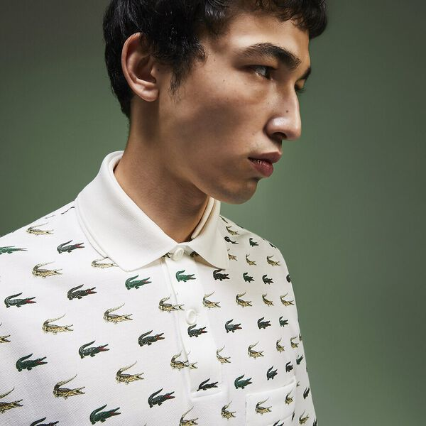Men's Fashion Show Iconics All Over Print Crocodile Polo, MULTICOLOUR/GREEN, hi-res