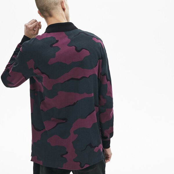 Men's L!ve Camo Long Sleeve Loose Fit Polo, SINOPLE/MULTICOLOUR, hi-res