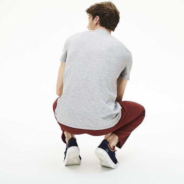Men's Basic V Neck Pima Tee, SILVER CHINE, hi-res