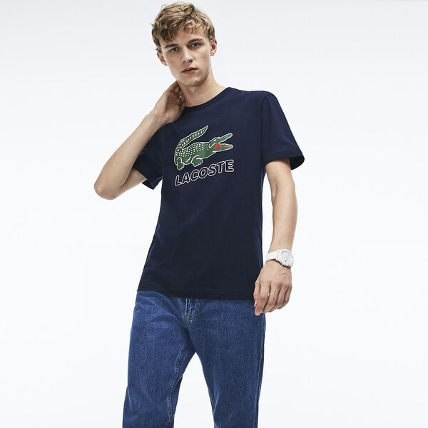 MEN'S LACOSTE CROC TEE, NAVY BLUE, hi-res