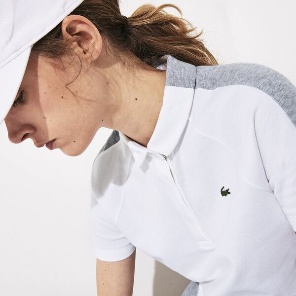 Women's SPORT Two-Tone Stretch Cotton Piqué Golf Polo Shirt, WHITE/GREY CHINE, hi-res