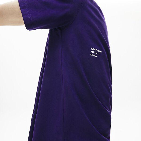 Men's Lacoste LIVE Double Collar Cotton T-shirt, TANZANITE/FARINE, hi-res