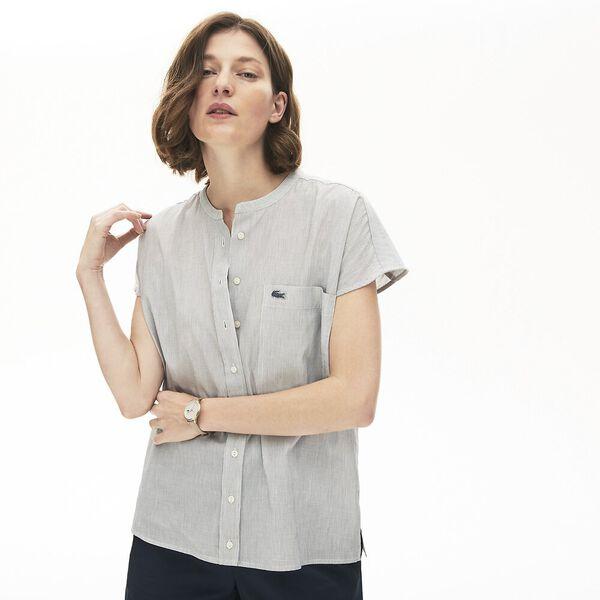 Women's Striped Linen And Cotton Blend Shirt, PRUNEAU/FOUINE-CORRIDA, hi-res
