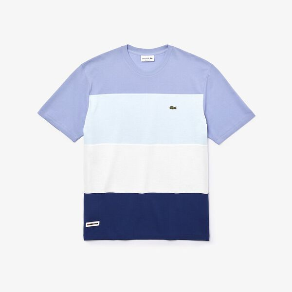 Men's Colourblock Striped Cotton Piqué Crew Neck T-shirt, METHYLENE/FARINE-RUISSEAU-PURPY, hi-res
