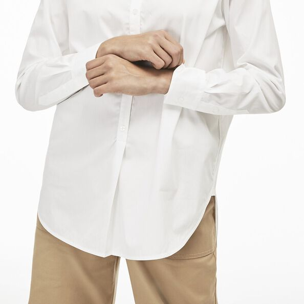 WOMEN'S LONG SLEEVE ROUND COLLAR STRIPE POPLIN SHIRT, WHITE/WHITE, hi-res