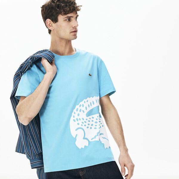 Men's Oversized Crocodile Print Crew Neck T-shirt, CICER, hi-res