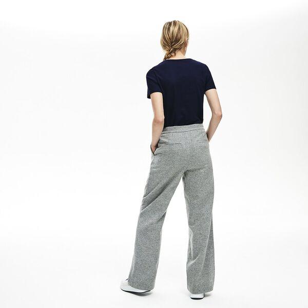WOMEN'S SLIM FIT V-NECK COTTON TEE, NAVY BLUE, hi-res