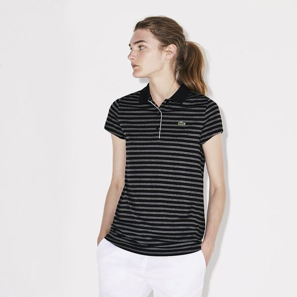 WOMEN'S CAP SLEEVE STRIPE GOLF POLO, BLACK/WHITE, hi-res
