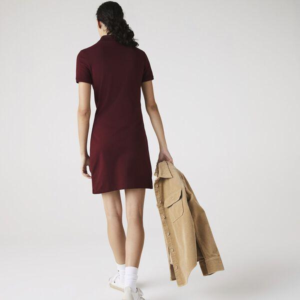 Women's Stretch Cotton Piqué Polo Dress, WINE, hi-res
