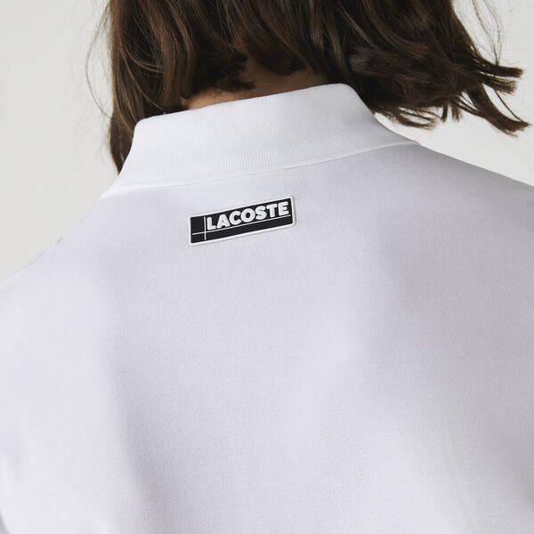Men's Slim Fit Zip Collar Ultra-Lightweight Piqué Polo, WHITE, hi-res