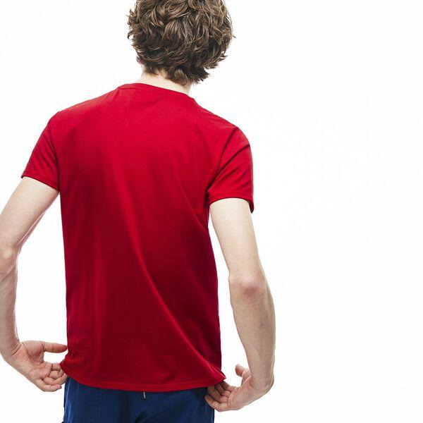 MEN'S BASIC CREW NECK PIMA TEE, RED, hi-res
