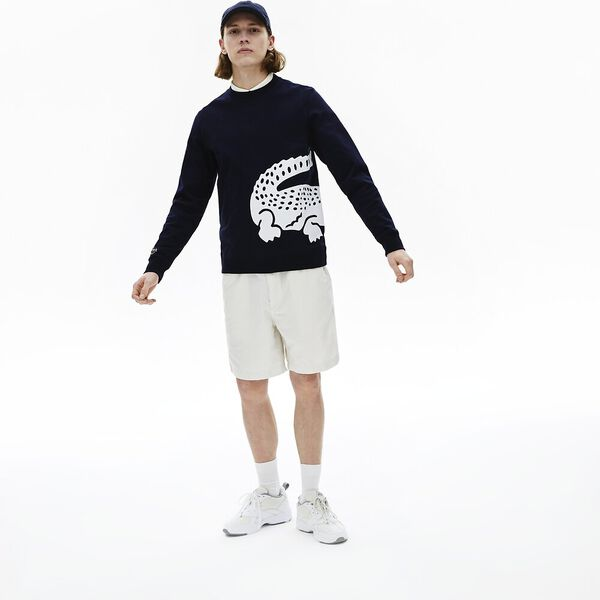 Men's Oversized Crocodile Crew Neck Sweatshirt, MARINE, hi-res
