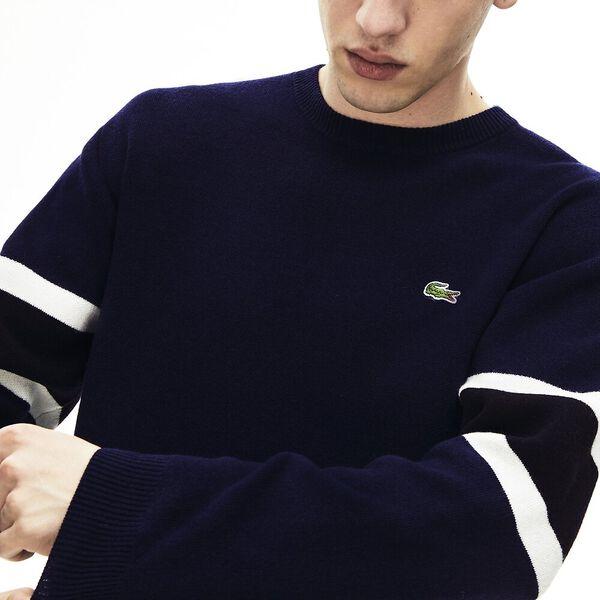 Men's 90S Sportswear Jacquard Knit, NAVY BLUE/BLACK-FLOUR, hi-res