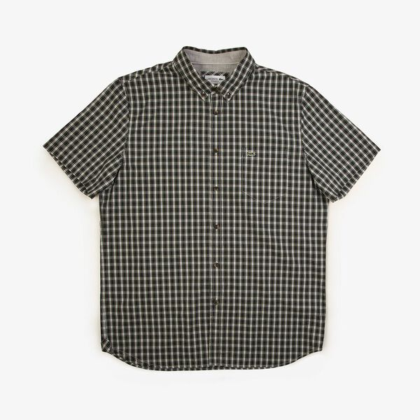 Men's Classic Short Sleeve Check Shirt, NAVY BLUE/SINOPLE, hi-res