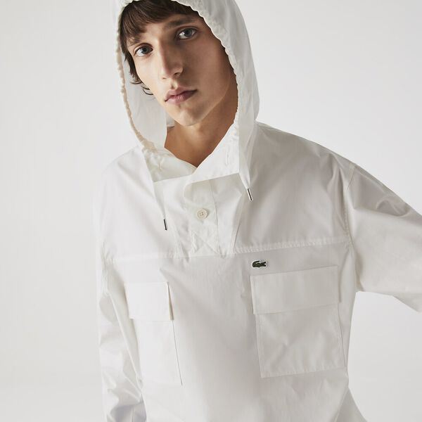 Men's Solid Water-Resistant Canvas Hooded Overshirt, FLOUR, hi-res