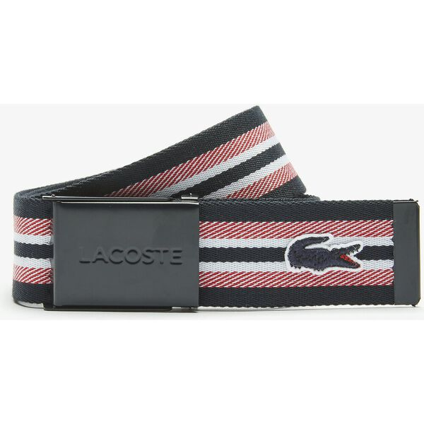 Women's Engraved Lacoste Plate Buckle Striped Belt