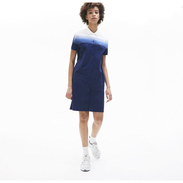 Women's Made in France Cotton Piqué Polo Dress, METHYLENE/TURQUIN-BLANC, hi-res