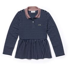 GIRLS LONG SLEEVE STRIPE POLO