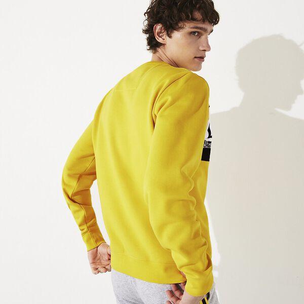 Men's SPORT Graphic Print Fleece Sweatshirt, JONQUILLE/NOIR-BLANC, hi-res