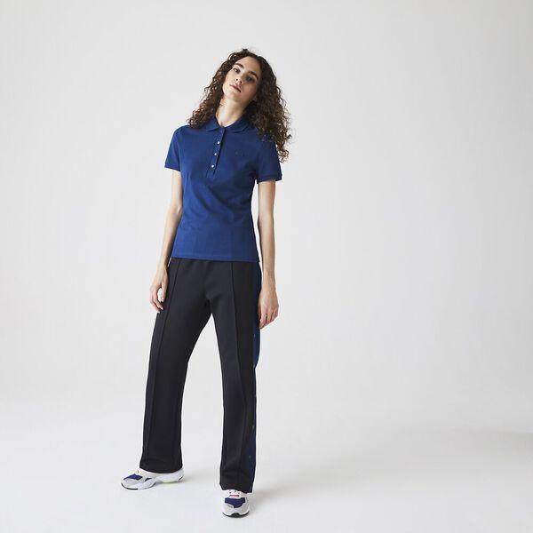 Women's Lacoste Stretch Cotton Piqué Polo Shirt, ARGENT CHINE, hi-res