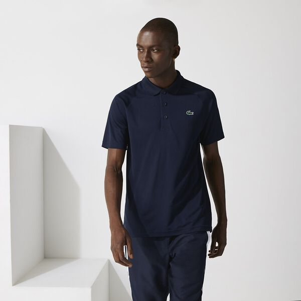 Men's SPORT Breathable Run-Resistant Interlock Polo, NAVY BLUE, hi-res