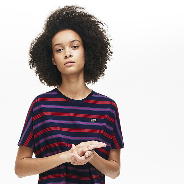 Women's Clean Stripes Mash Up Tee, NAVY BLUE/ALIZARIN, hi-res