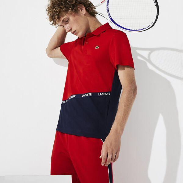 Men's Tennis Ultra Dry Colour Block Polo, RED/NAVY BLUE-NAVY BLUE, hi-res