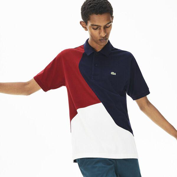 Men's Innovation L.12.12 Colour Block Polo, FLOUR/NAVY BLUE-BORDEAUX, hi-res