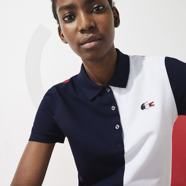 Women's SPORT French Sporting Spirit Two-Tone Polo, NAVY BLUE/WHITE-RED, hi-res