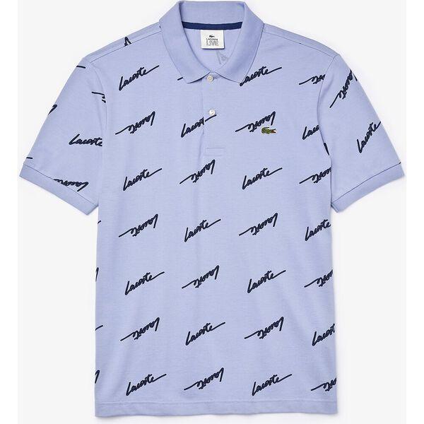 Men's Lacoste LIVE Standard Fit Print Cotton Piqué Polo Shirt, PURPY/METHYLENE, hi-res