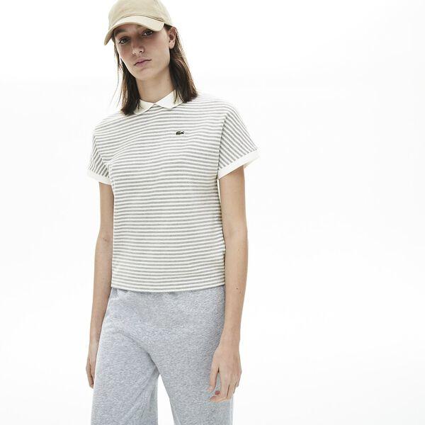 Women's Striped  Polo Shirt, MARINE/FARINE, hi-res