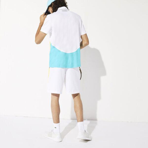 Men's Tennis Ultra Dry Colour Block Polo, BLANC/HAITI-CITRON 05E-MARINE, hi-res
