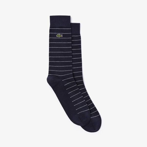 Striped Jersey Socks, MARINE SOMBRE/BLANC, hi-res