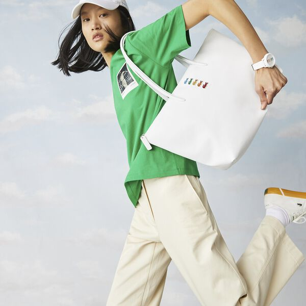 Women's Lacoste x Polaroid Multicolor Crocodiles Tote Bag