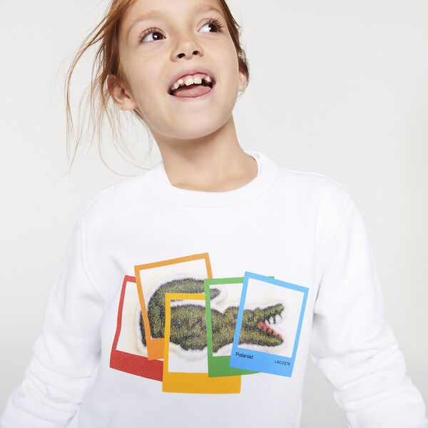 Boys' Lacoste x Polaroid Print Cotton Fleece Sweatshirt