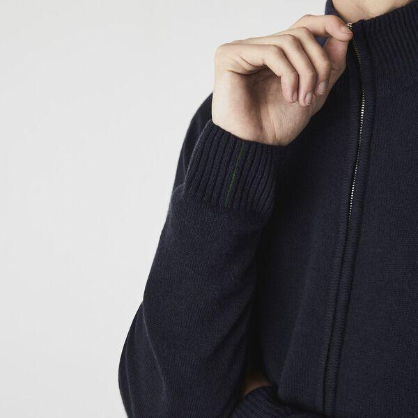 Men's Wool Zip Cardigan, NAVY BLUE, hi-res