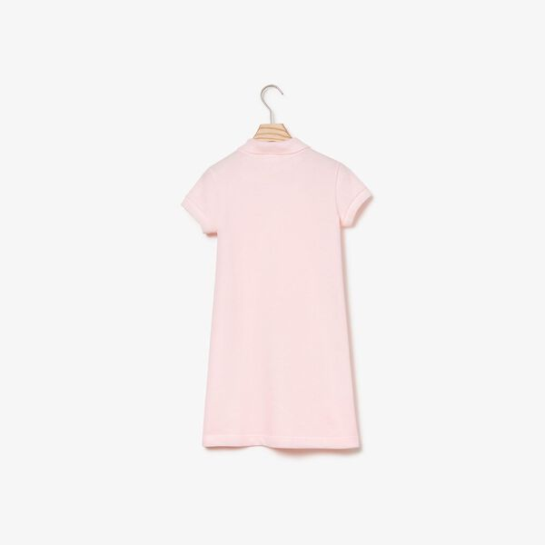 Girl's Classic Pique Polo Dress, FLAMINGO, hi-res