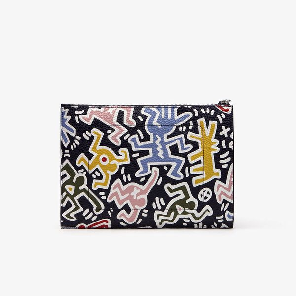 WOMEN'S PRINTED KEITH HARING ZIP POUCH, MULTICOLOURLOUR, hi-res
