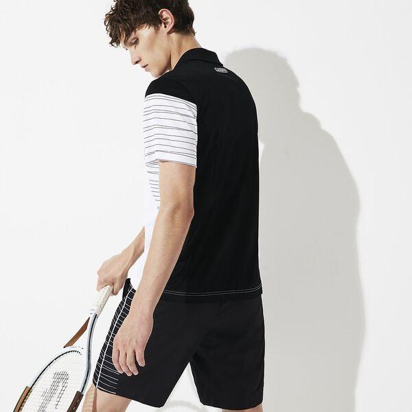 Men's Tennis Sport Short, BLACK/WHITE, hi-res