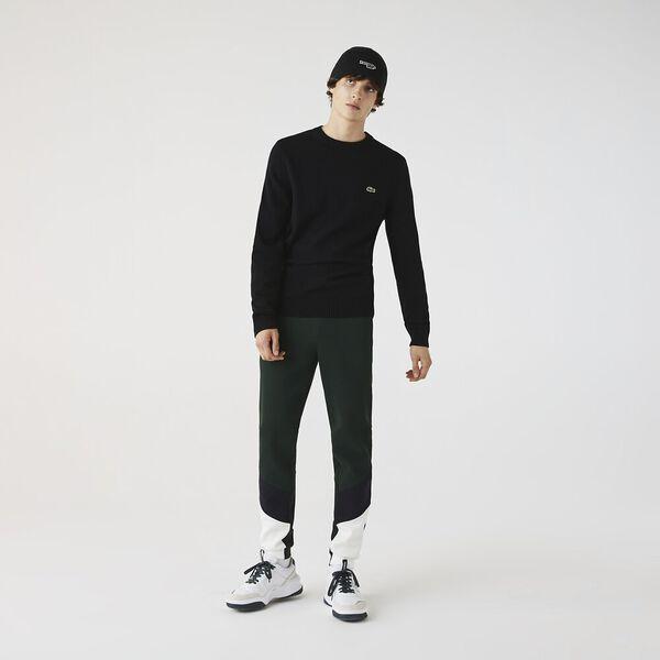 Men's Crew Neck Wool Sweater, BLACK, hi-res