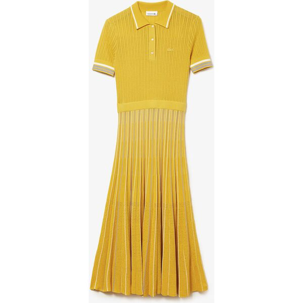 Women's Cotton Polo Dress With Pleated Skirt, ANTHEMIS/FREESIA-FLOUR, hi-res