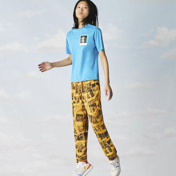 Women's Crew Neck Lacoste x Polaroid Print Cotton T-shirt