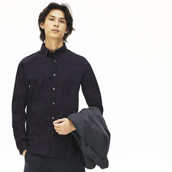 Men's Long Sleeve Slim Stretch Solid Poplin Shirt, NAVY BLUE, hi-res