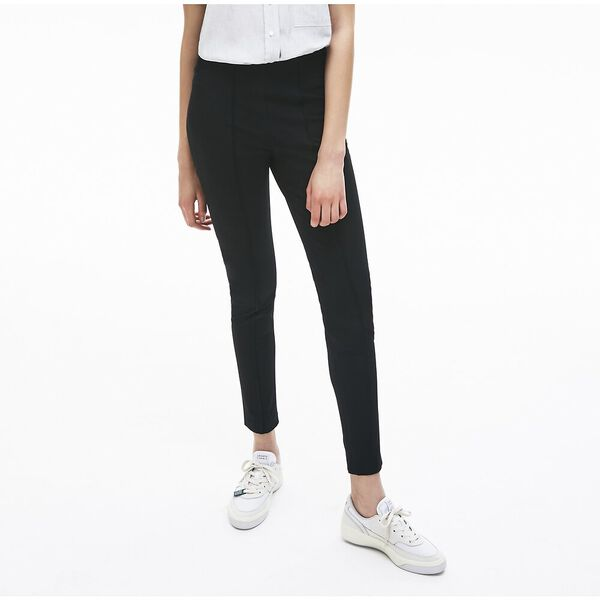 Women's Pleated Stretch Cotton Leggings, NOIR, hi-res