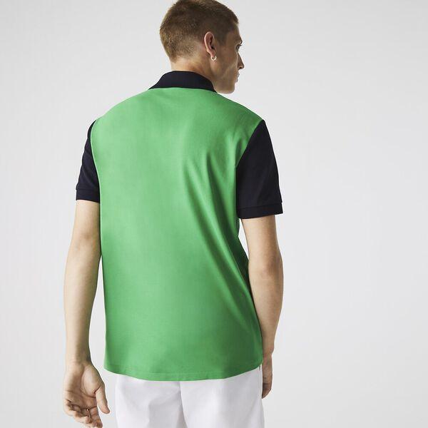 Men's Light Breathable Colorblock Polo, MALACHITE/CREEK-ABYSM, hi-res