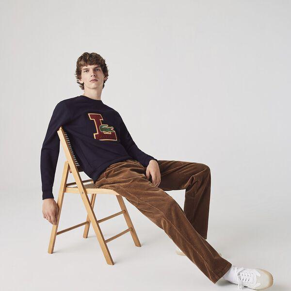 Men's Crew Neck Badge Fleece Sweatshirt, ABYSM, hi-res