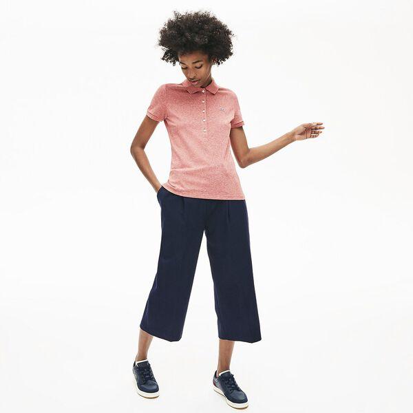Women's 5 Button Slim Stretch Core Polo, CINNABAR MOULINE, hi-res