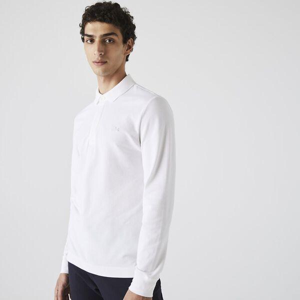 Men's Long-sleeve Paris Polo, BLANC, hi-res