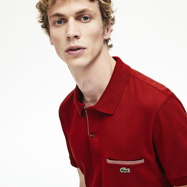 Men's Regular Fit Contrast Accents Cotton Piqué Polo, ALIZARIN/CINNABAR MOULINE, hi-res